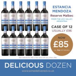 Estancia Malbec 12 bottles of Reserve Malbec wine offer