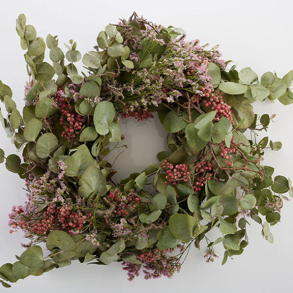 Eucalyptus Christmas Wreath Christmas Wreath no bow pink flowers