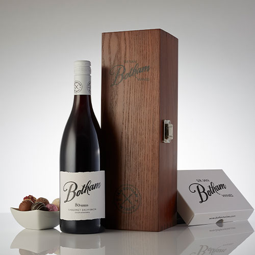 Botham 80 Series Cab Sav in box with truffles