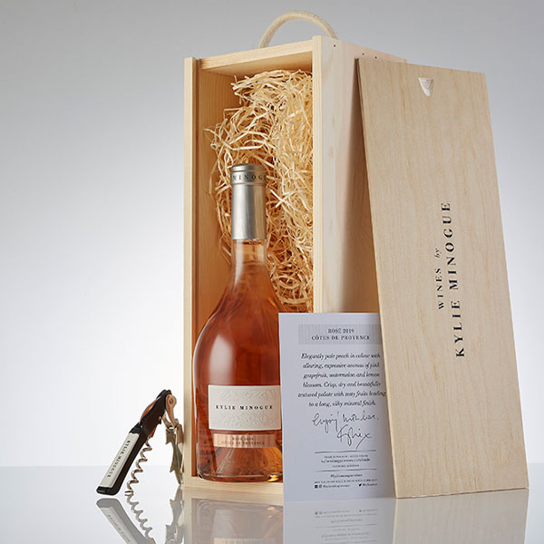 Kylie Minogue Rosé in a wooden gift box